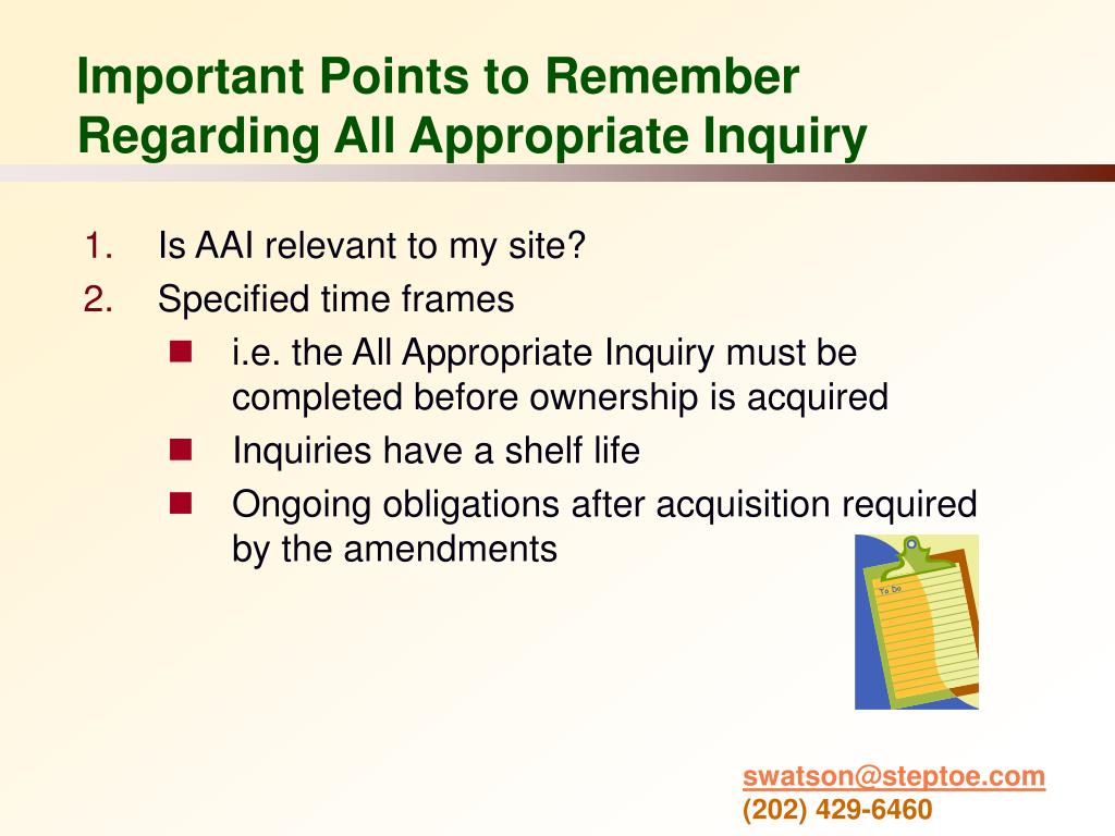Important Points to Remember Regarding All Appropriate Inquiry
