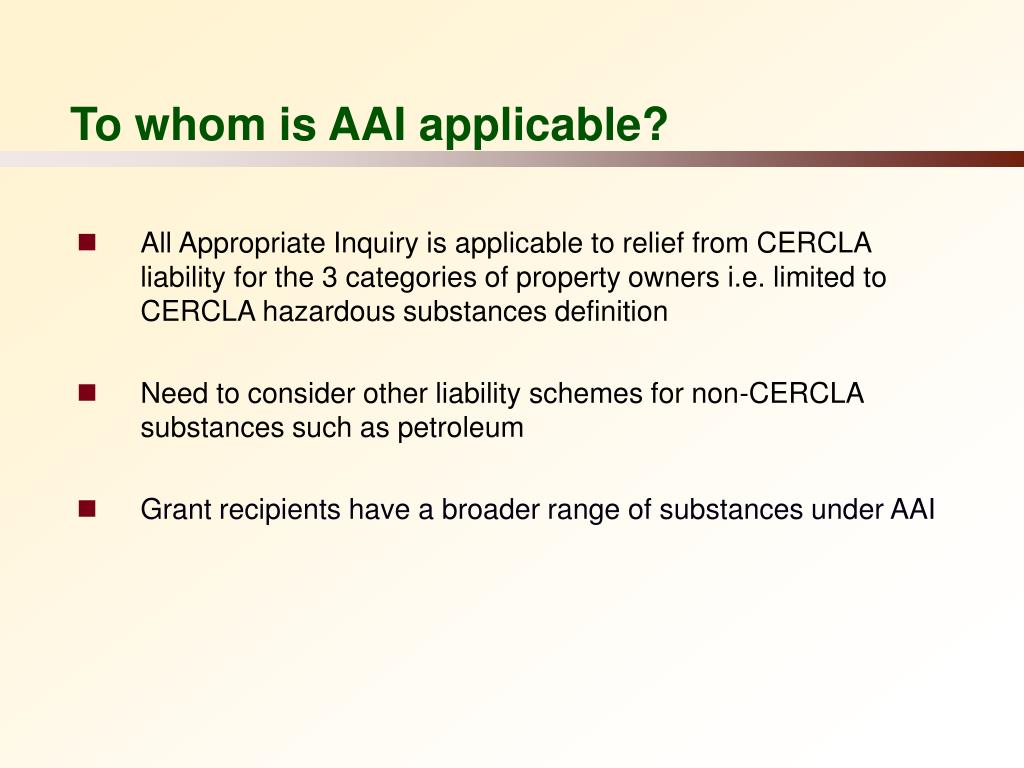 To whom is AAI applicable?