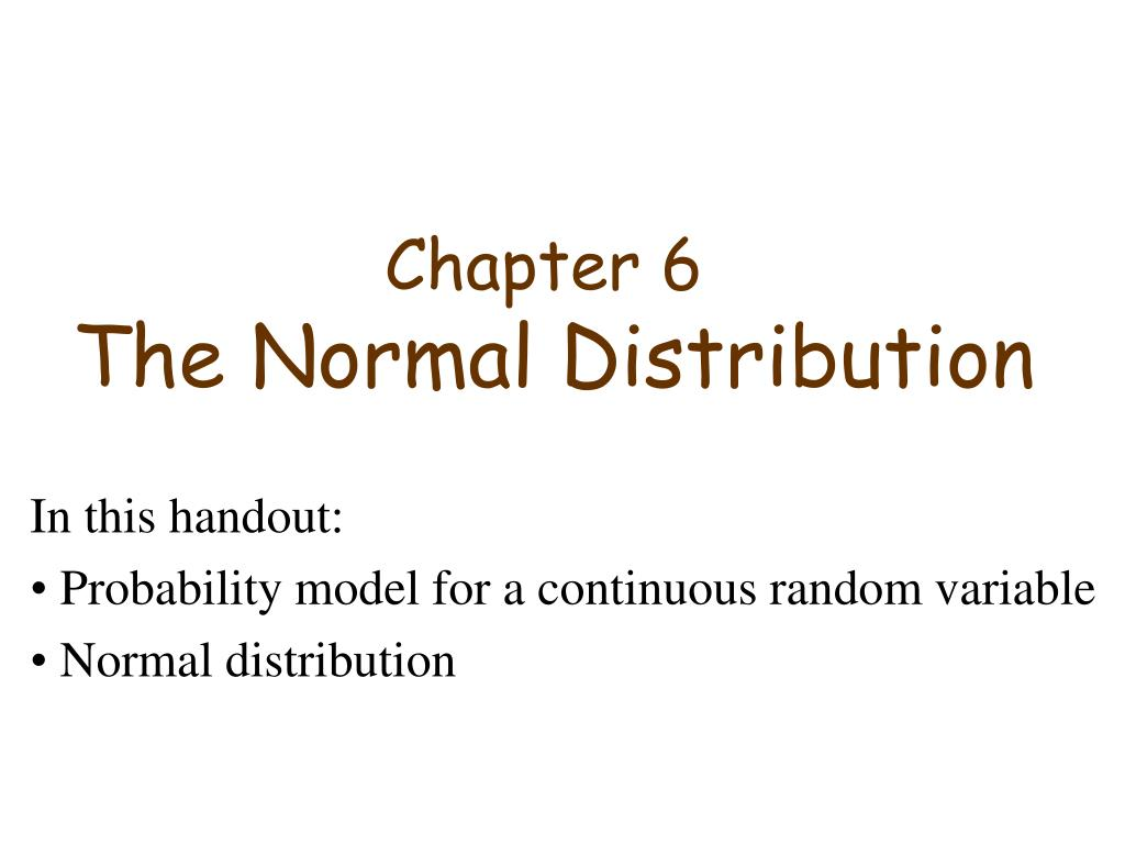 chapter 6 the normal distribution l.