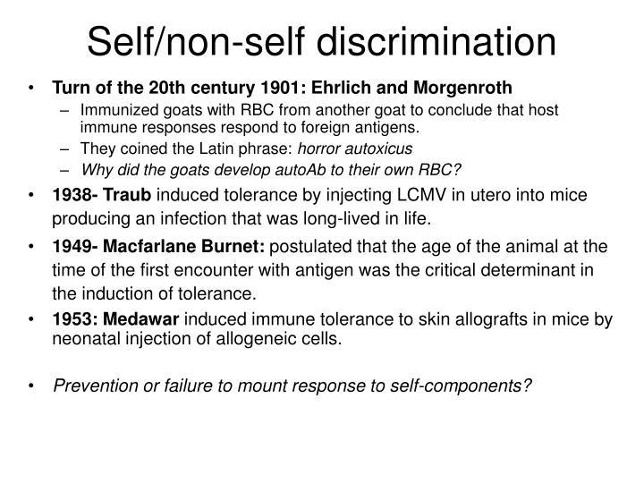 Self non self discrimination