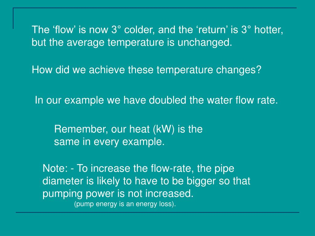 The 'flow' is now 3° colder, and the 'return' is 3° hotter,
