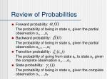 review of probabilities