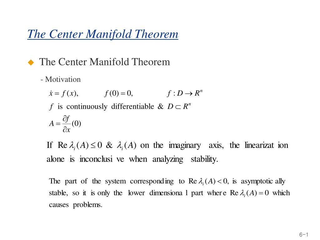 the center manifold theorem l.