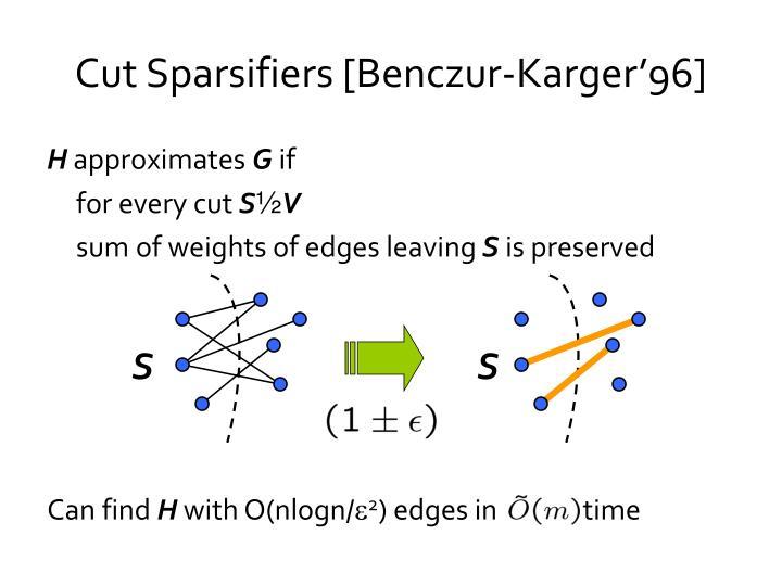 Cut sparsifiers benczur karger 96