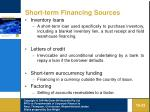 short term financing sources23