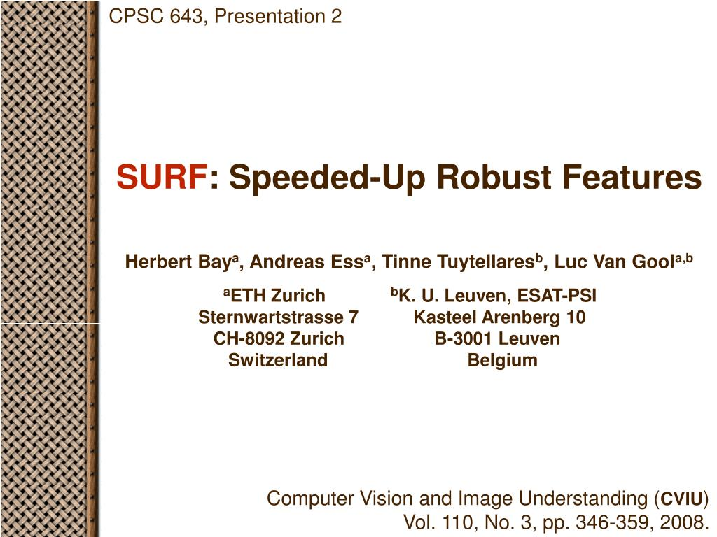 surf speeded up robust features l.