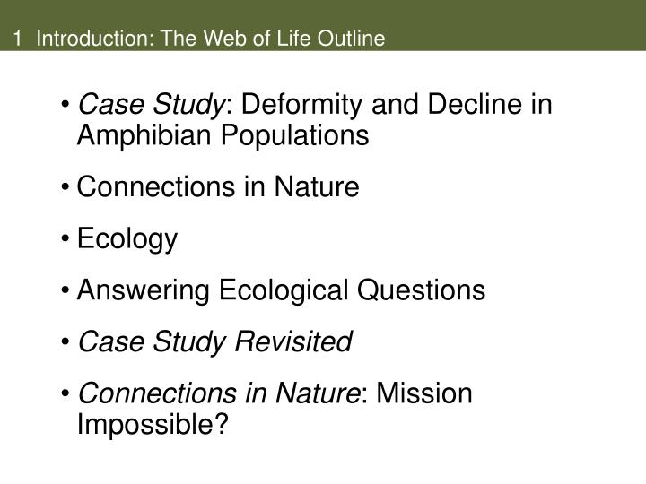 1 introduction the web of life outline