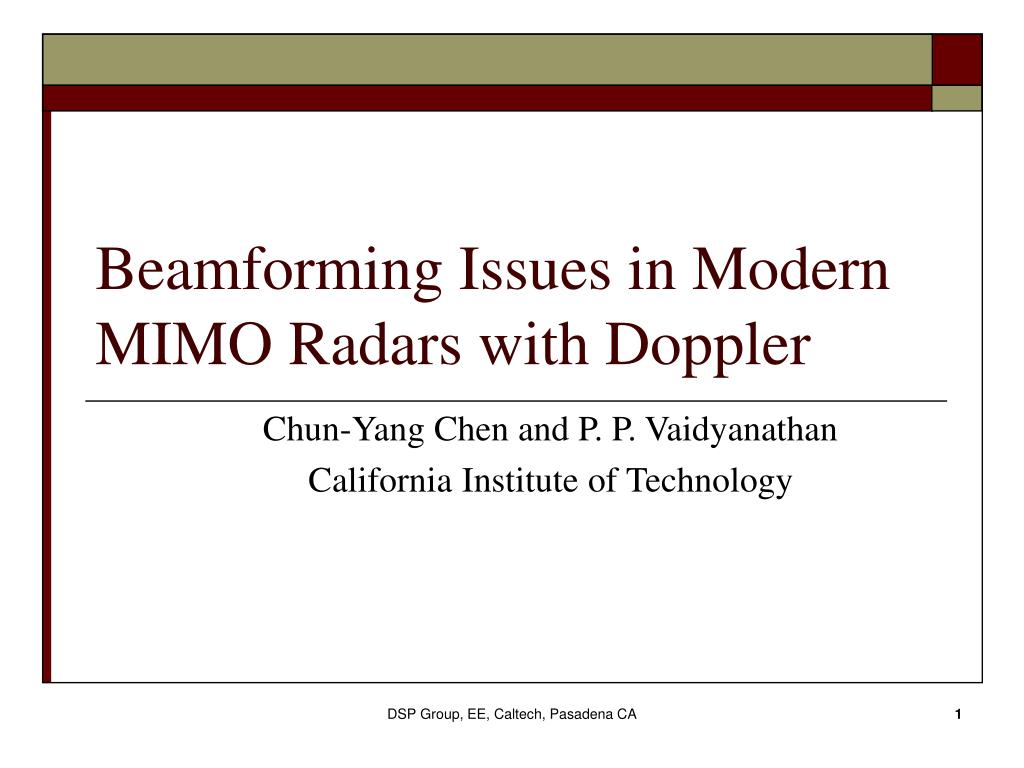 beamforming issues in modern mimo radars with doppler l.