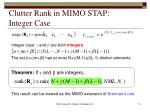clutter rank in mimo stap integer case