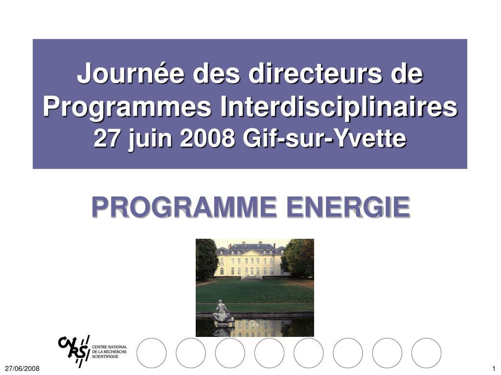Journée des directeurs de Programmes Interdisciplinaires