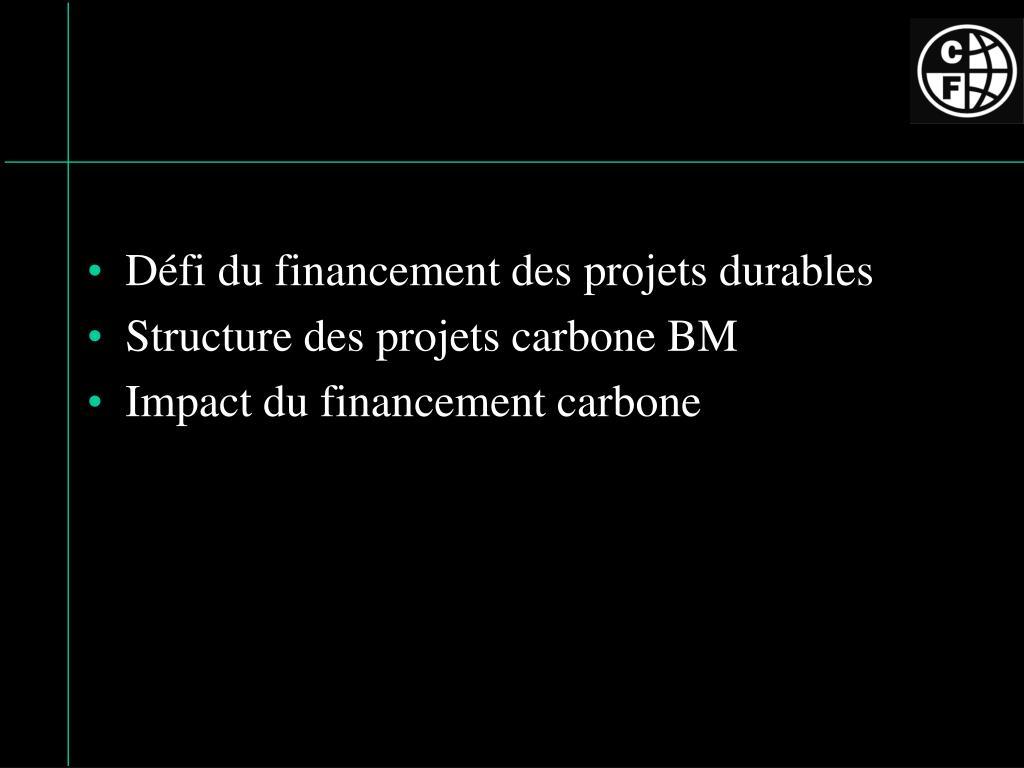 Défi du financement des projets durables