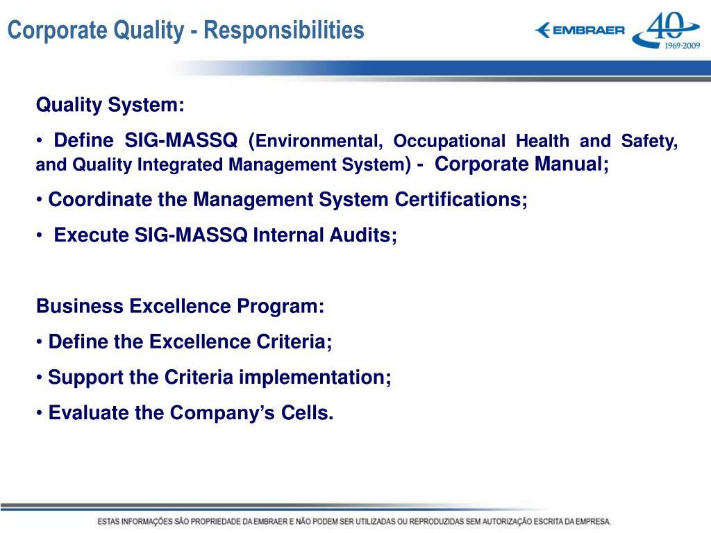 Corporate Quality - Responsibilities