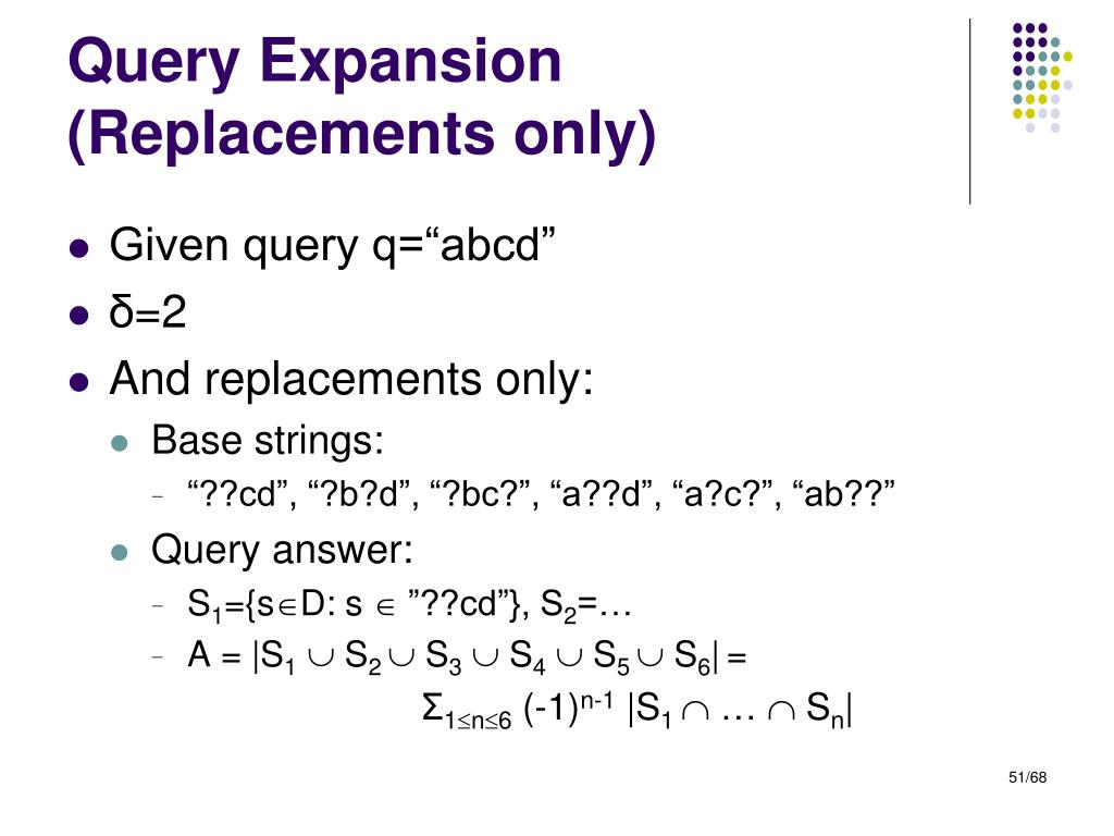 Query Expansion (Replacements only)