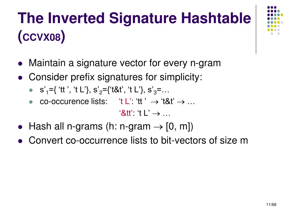 The Inverted Signature Hashtable (