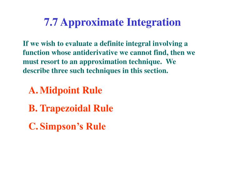 7 7 approximate integration n.