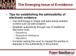 the emerging issue of e evidence53