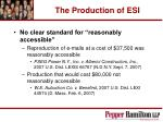 the production of esi30
