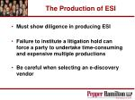 the production of esi32