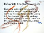 therapists feedback to clients