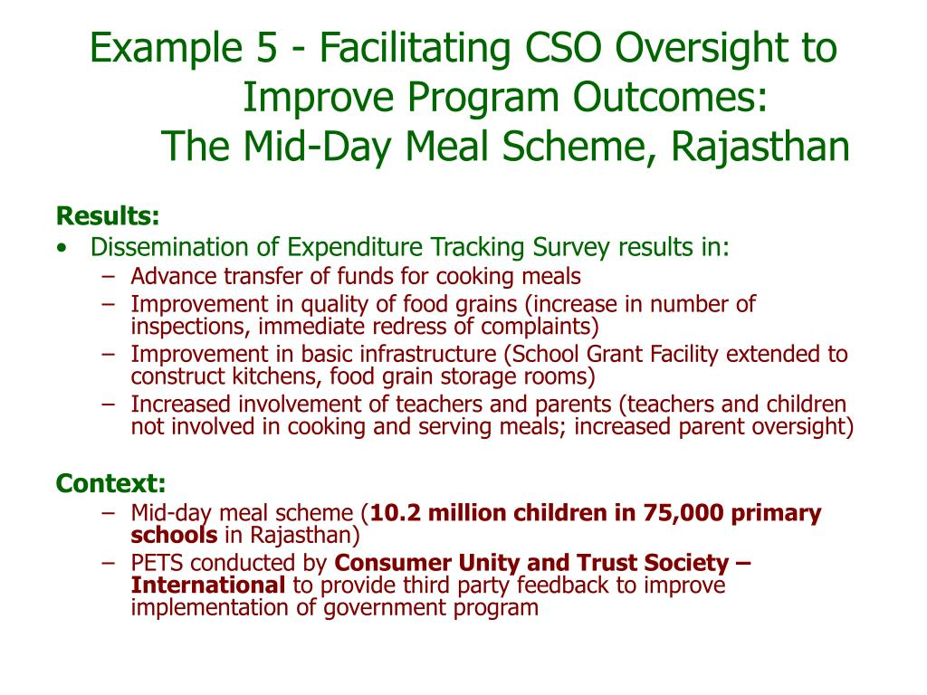 Example 5 - Facilitating CSO Oversight to Improve Program Outcomes: