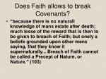 does faith allows to break covenants