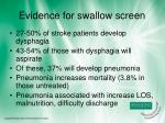evidence for swallow screen