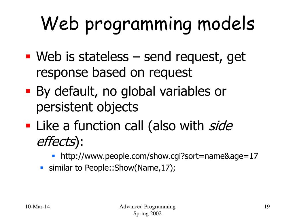Web programming models