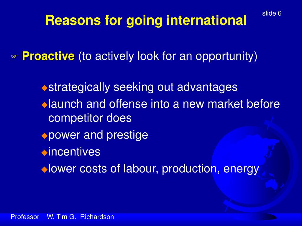 Reasons for going international