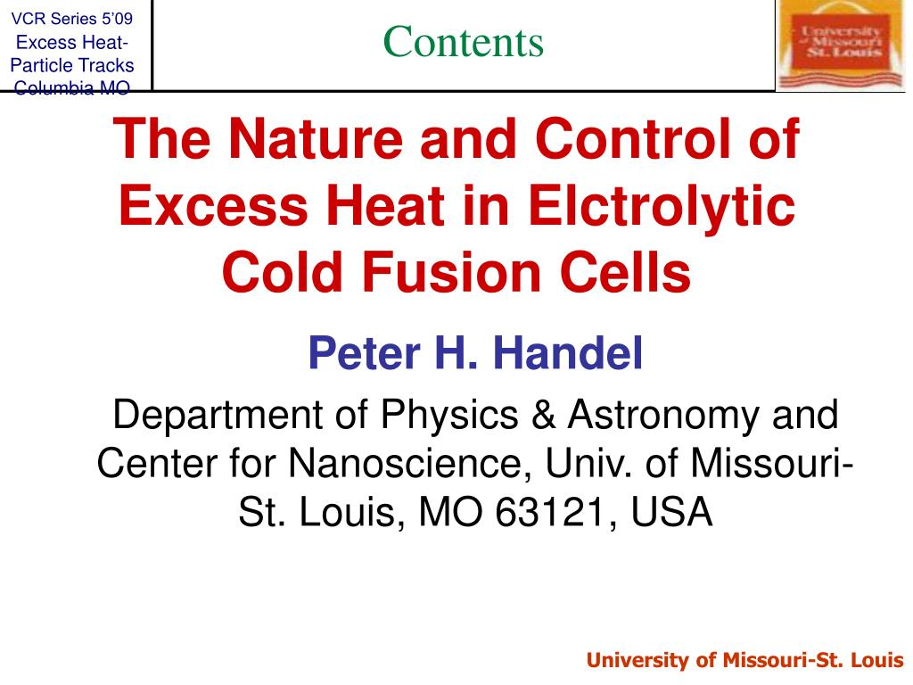 the nature and control of excess heat in elctrolytic cold fusion cells l.