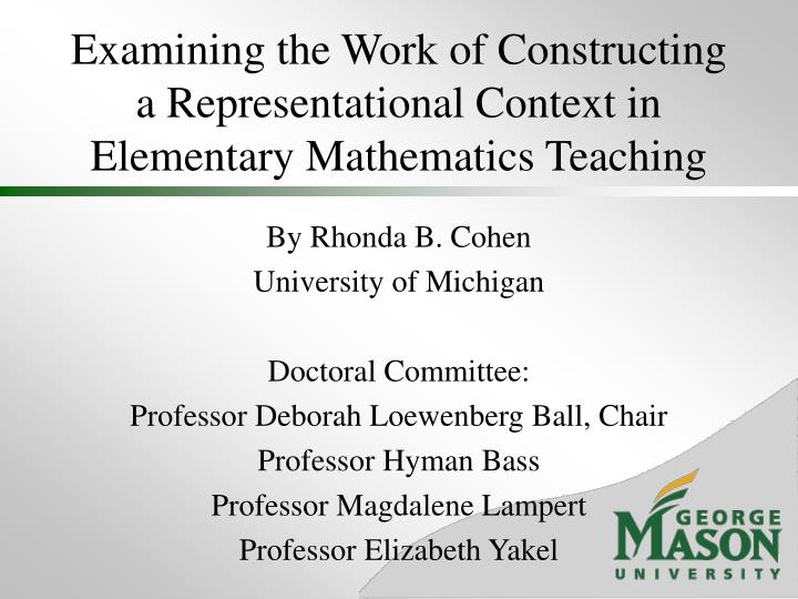Examining the work of constructing a representational context in elementary mathematics teaching