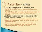 amber lens values