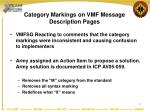 category markings on vmf message description pages