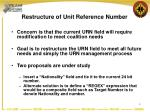 restructure of unit reference number