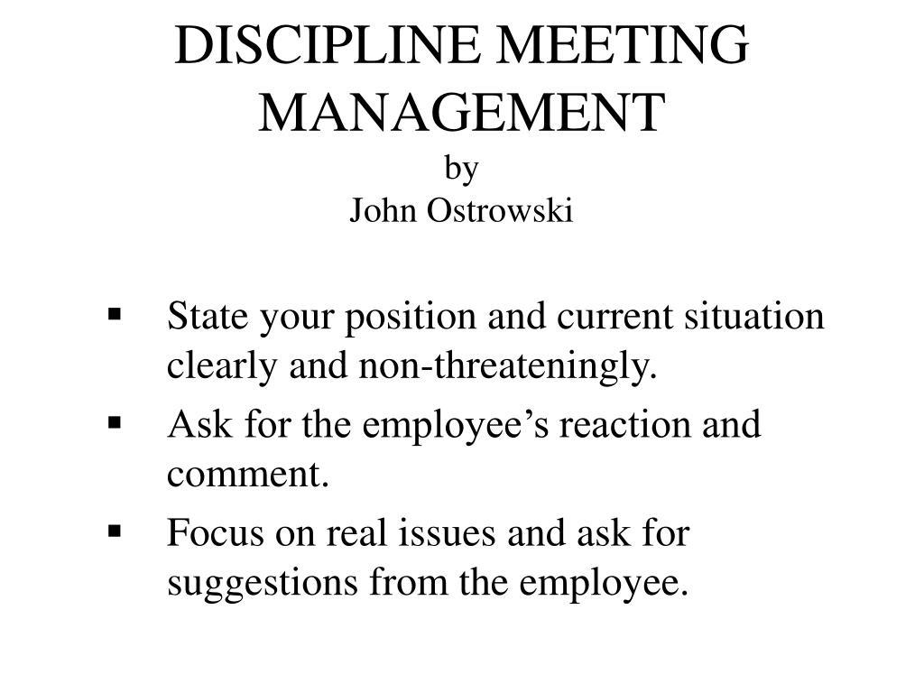 discipline meeting management by john ostrowski l.