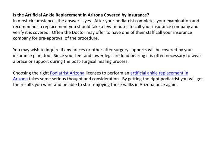 Is the Artificial Ankle Replacement in Arizona Covered by Insurance?