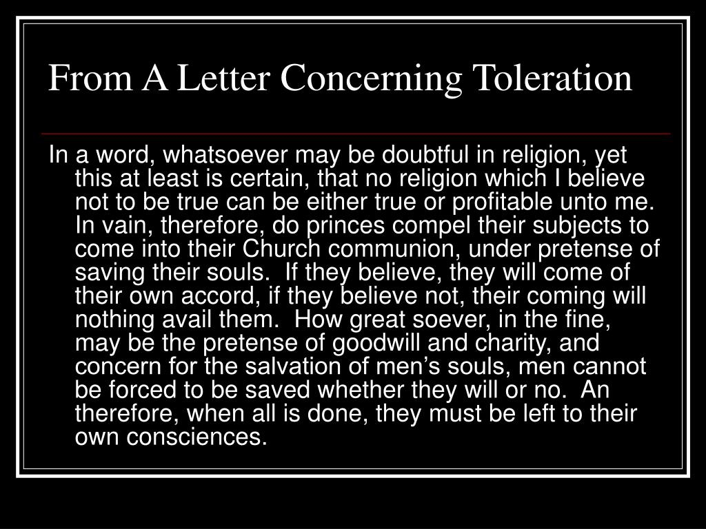 From A Letter Concerning Toleration