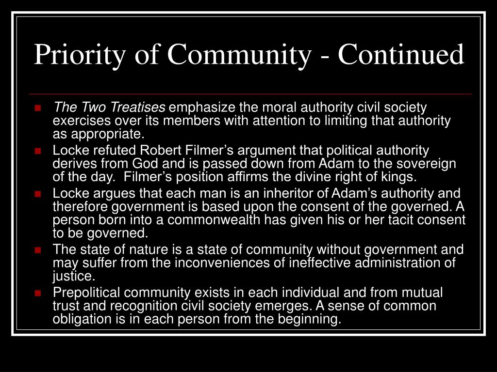 Priority of Community - Continued