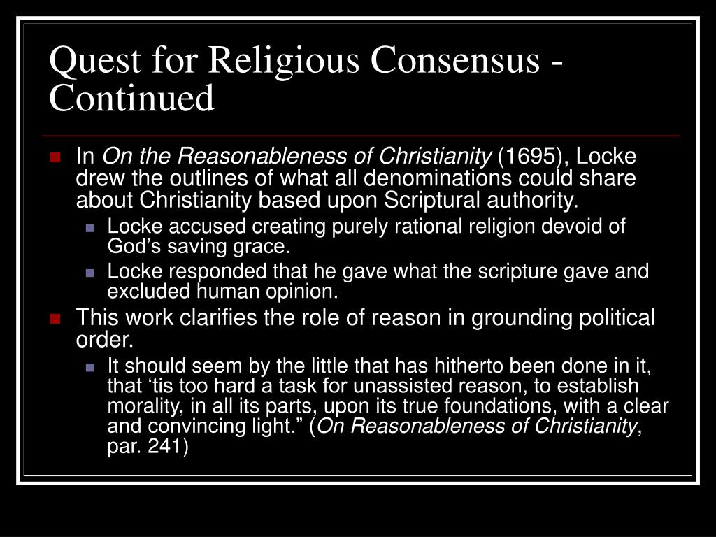 Quest for Religious Consensus - Continued
