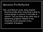 questions for reflection17