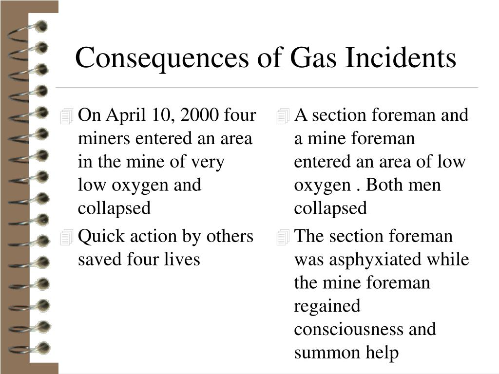 On April 10, 2000 four miners entered an area in the mine of very low oxygen and collapsed