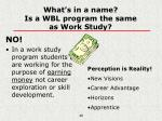 what s in a name is a wbl program the same as work study