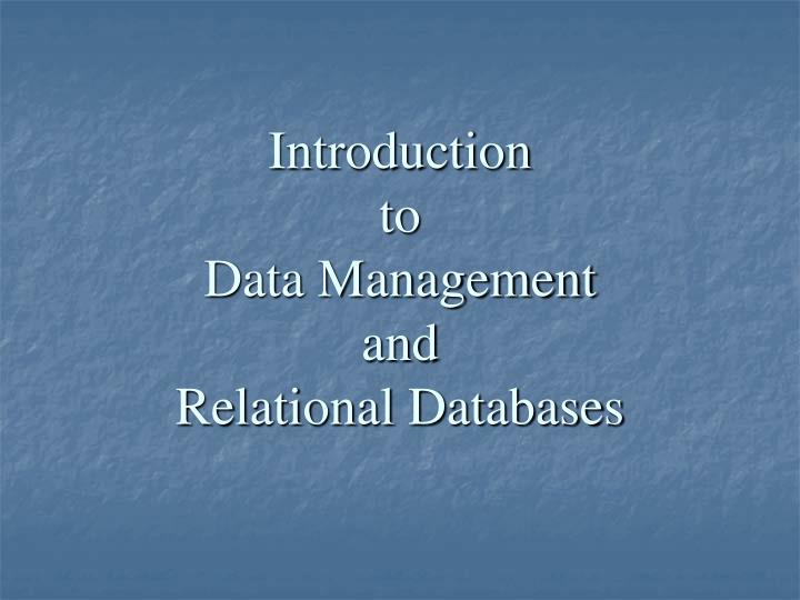 introduction to data management and relational databases n.