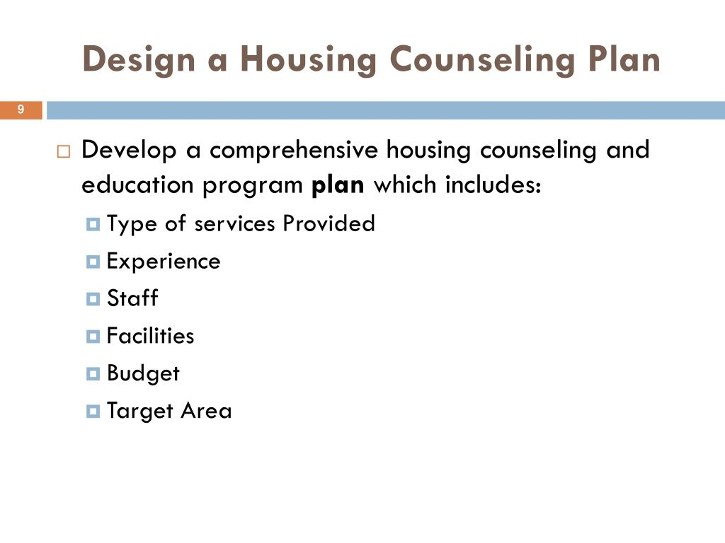 Design a Housing Counseling Plan