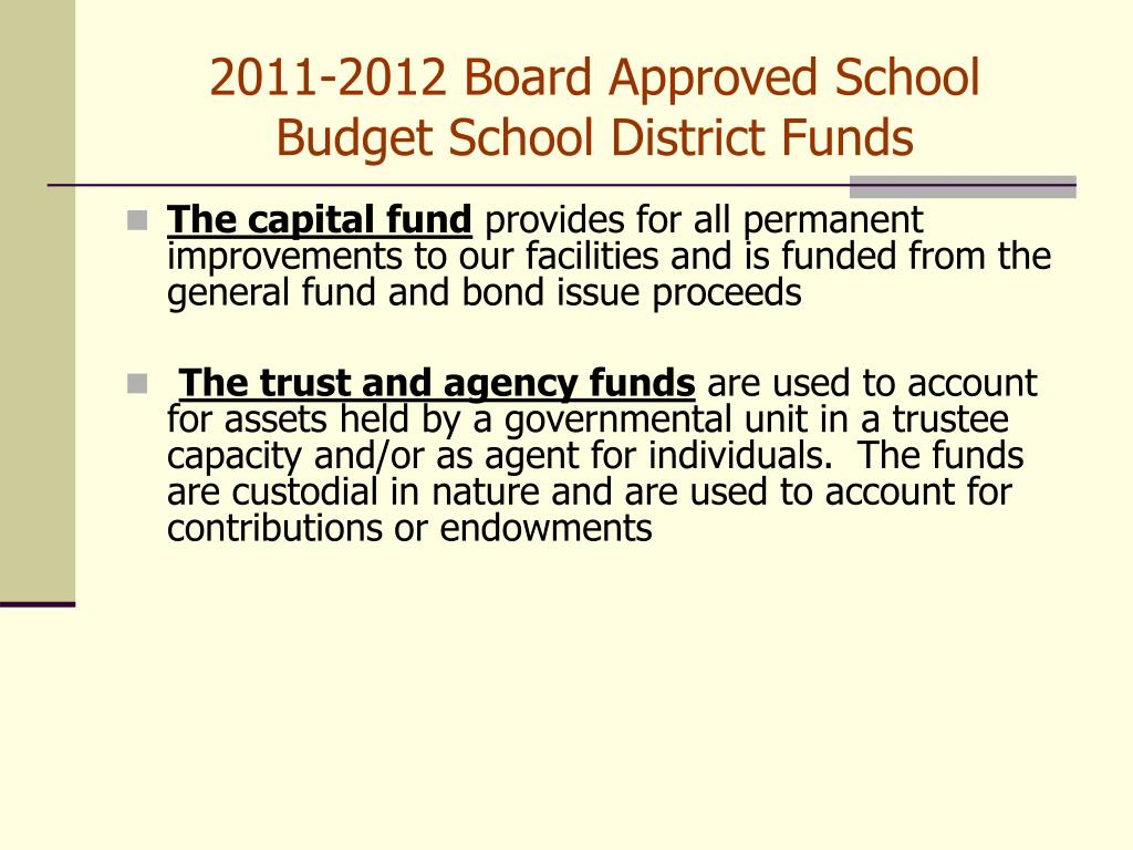 2011-2012 Board Approved School Budget School District Funds