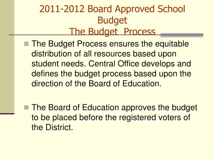 2011 2012 board approved school budget the budget process