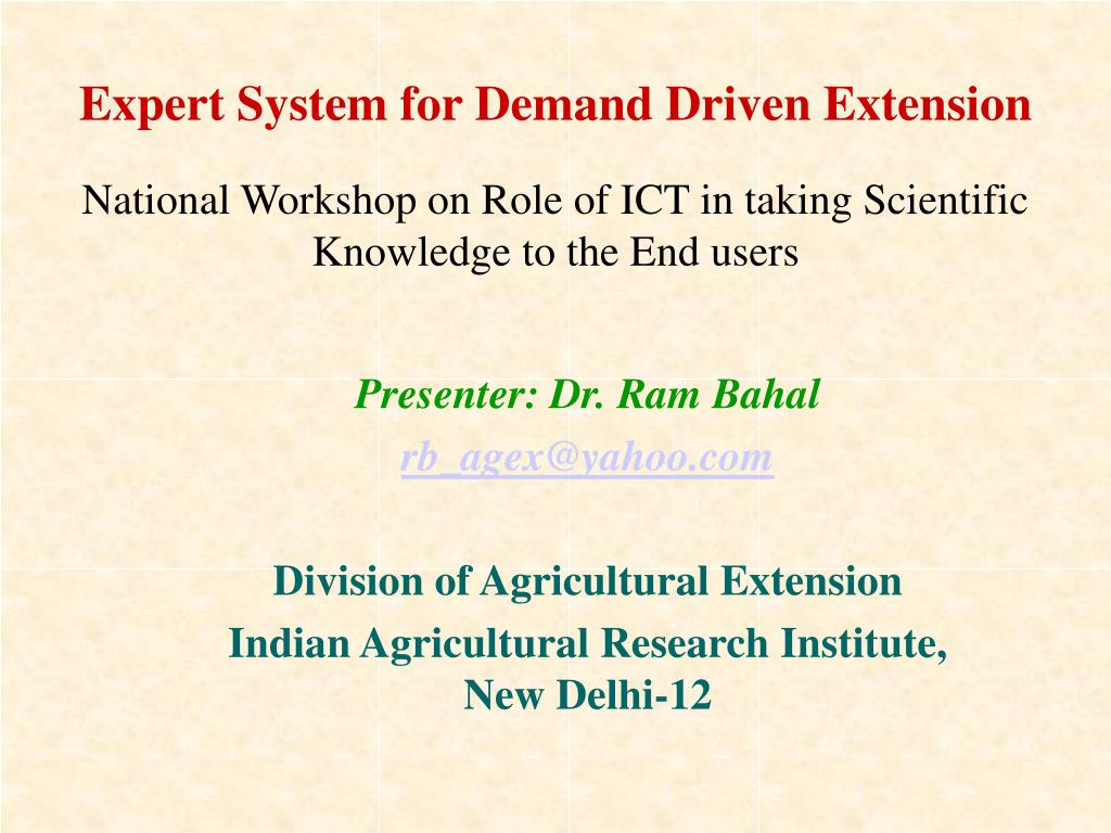 expert system for demand driven extension l.