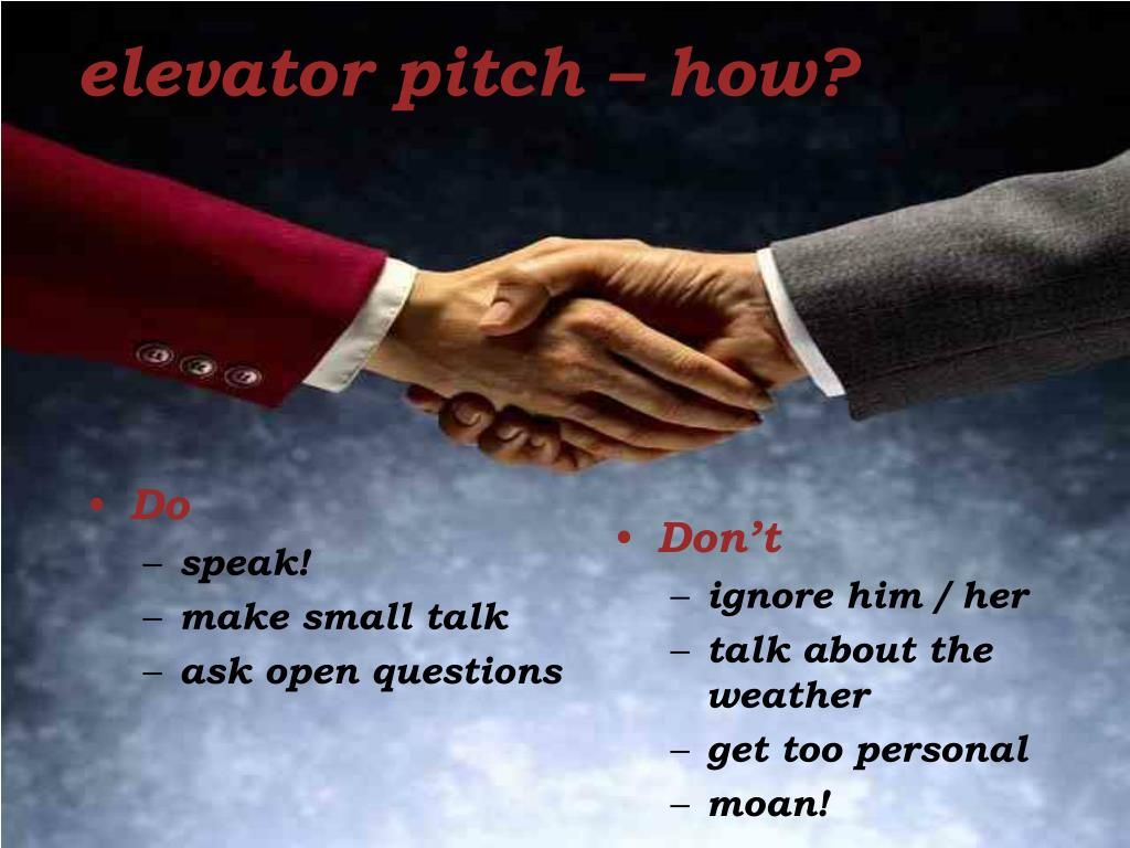 elevator pitch – how?