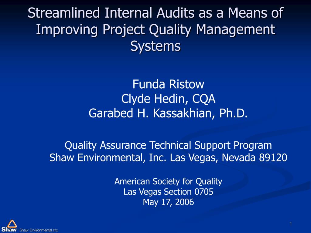 streamlined internal audits as a means of improving project quality management systems l.