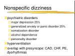 nonspecific dizziness