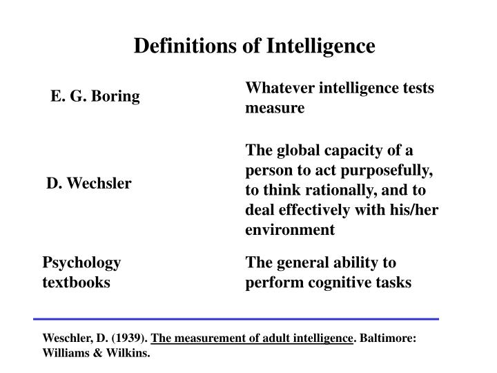 Definitions of Intelligence